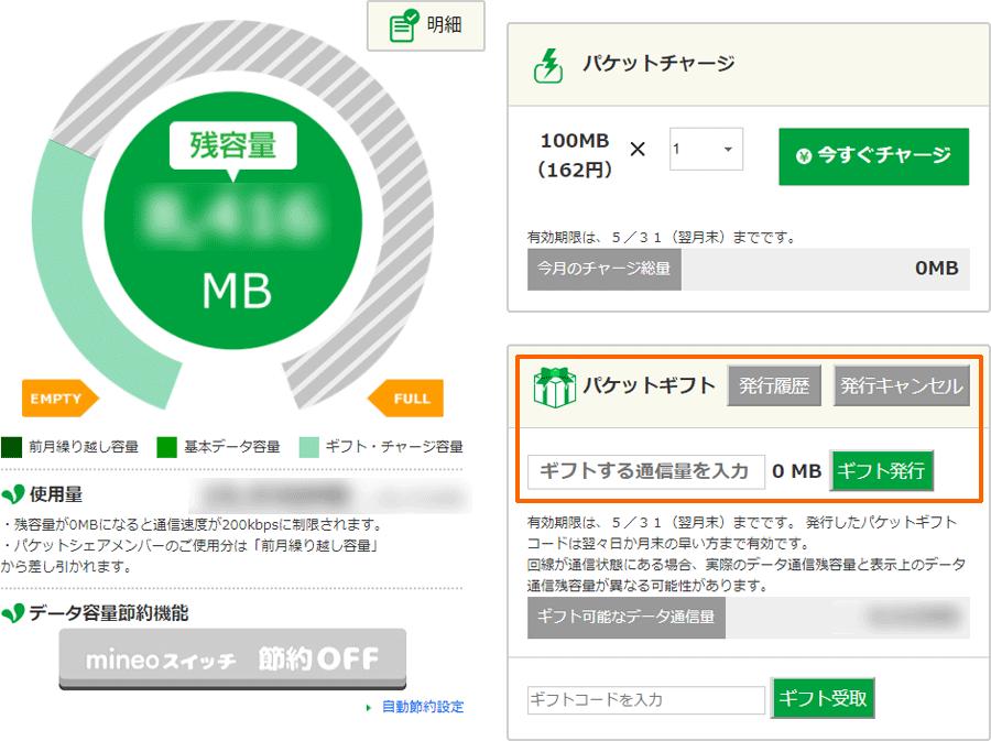 mineo管理画面のパケットギフト