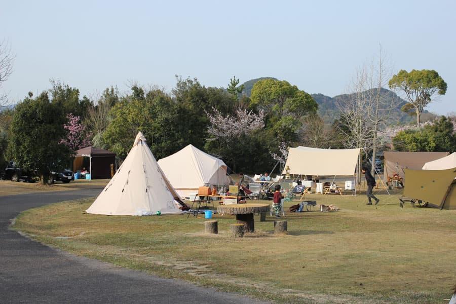 フリーテントサイトA・B/おしゃれなテントが並ぶ